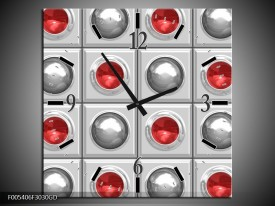 Wandklok op Glas Modern | Kleur: Rood, Grijs | F005406CGD