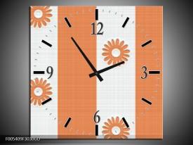 Wandklok op Glas Modern   Kleur: Oranje, Wit   F005409CGD