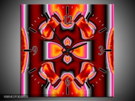 Wandklok op Glas Modern | Kleur: Rood, Grijs, Geel | F005417CGD