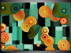 Foto canvas schilderij Modern | Groen, Oranje, Zwart