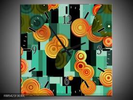 Wandklok op Canvas Modern | Kleur: Groen, Oranje, Zwart | F005421C