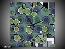 Wandklok op Canvas Modern | Kleur: Groen, Grijs | F005427C