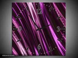 Wandklok op Canvas Modern | Kleur: Paars, Wit | F005435C