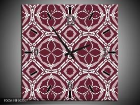 Wandklok op Canvas Abstract | Kleur: Bruin, Wit | F005439C