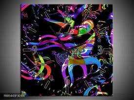 Wandklok op Canvas Abstract | Kleur: Zwart, Blauw, Paars | F005441C