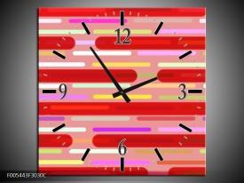 Wandklok op Canvas Abstract | Kleur: Rood, Paars, Wit | F005443C