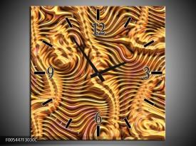 Wandklok op Canvas Abstract   Kleur: Goud, Bruin, Geel   F005447C