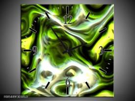 Wandklok op Glas Abstract | Kleur: Groen, Zwart, Geel | F005449CGD