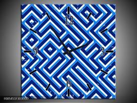 Wandklok op Glas Abstract | Kleur: Blauw, Wit | F005451CGD