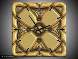 Wandklok op Canvas Abstract | Kleur: Goud, Grijs | F005456C