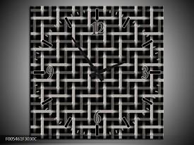 Wandklok op Canvas Abstract | Kleur: Zwart, Wit, Grijs | F005461C