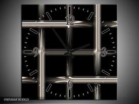 Wandklok op Glas Abstract | Kleur: Zwart, Wit, Grijs | F005466CGD