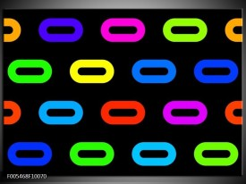 Glas schilderij Abstract   Zwart, Blauw, Geel