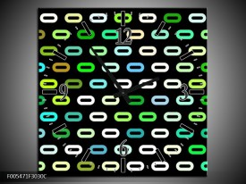 Wandklok op Canvas Abstract | Kleur: Zwart, Wit, Groen | F005471C