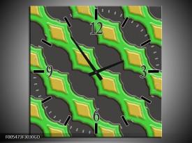 Wandklok op Glas Abstract | Kleur: Groen, Grijs, Geel | F005473CGD
