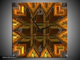 Wandklok op Glas Abstract | Kleur: Goud, Grijs, Geel | F005478CGD
