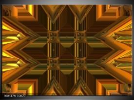Glas schilderij Abstract | Goud, Grijs, Geel