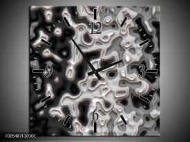 Wandklok op Canvas Abstract | Kleur: Zwart, Grijs, Wit | F005487C