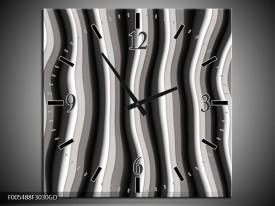 Wandklok op Glas Abstract | Kleur: Zwart, Grijs, Wit | F005488CGD