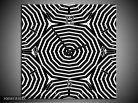 Wandklok op Canvas Abstract | Kleur: Zwart, Grijs, Wit | F005491C