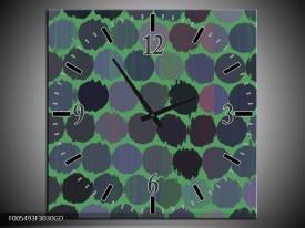 Wandklok op Glas Abstract | Kleur: Groen, Zwart | F005493CGD