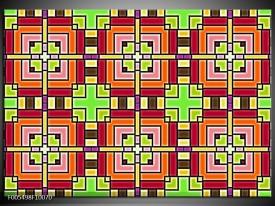 Glas schilderij Abstract | Groen, Rood, Geel