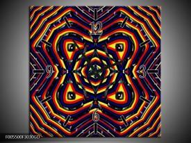 Wandklok op Glas Abstract | Kleur: Geel, Oranje, Blauw | F005500CGD