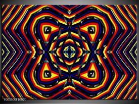 Glas schilderij Abstract | Geel, Oranje, Blauw