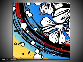 Wandklok op Glas Art | Kleur: Blauw, Wit, Zwart | F005531CGD