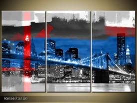 Canvas schilderij Brug   Blauw, Grijs, Rood   165x100cm 3Luik