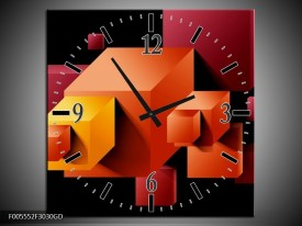 Wandklok op Glas Vierkant | Kleur: Oranje, Zwart, Geel | F005552CGD