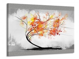 Canvas schilderij Bomen | Grijs, Oranje, Wit | 100x70cm 1Luik