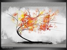 Glas schilderij Bomen | Grijs, Oranje, Wit