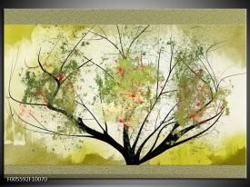 Glas schilderij Bomen | Groen, Zwart