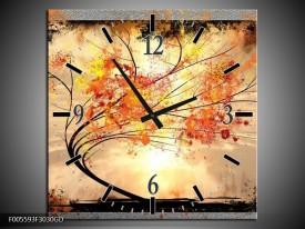 Wandklok op Glas Bomen | Kleur: Oranje, Grijs, Zwart | F005593CGD
