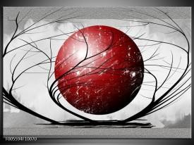 Glas schilderij Art   Rood, Grijs, Zwart