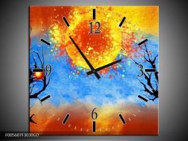 Wandklok op Glas Art | Kleur: Blauw, Oranje, Zwart | F005607CGD