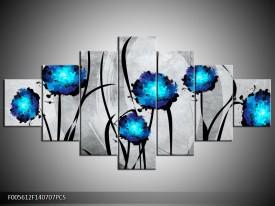 Canvas schilderij Tulp | Grijs, Blauw, Zwart | 140x70cm 7Luik