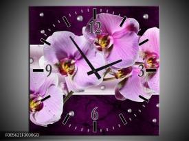 Wandklok op Glas Orchidee | Kleur: Paars, Wit | F005621CGD