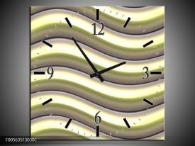 Wandklok op Canvas Art | Kleur: Groen, Zwart, Geel | F005635C