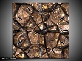 Wandklok op Glas Art | Kleur: Bruin, Grijs, Zwart | F005637CGD