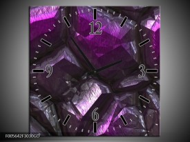 Wandklok op Glas Art | Kleur: Paars, Zwart | F005642CGD