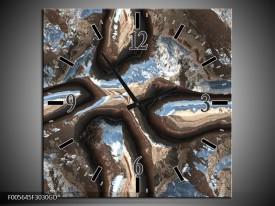 Wandklok op Glas Art | Kleur: Blauw, Bruin, Wit | F005645CGD