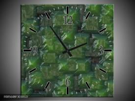 Wandklok op Glas Art   Kleur: Groen   F005648CGD