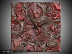 Wandklok op Canvas Art | Kleur: Rood, Grijs | F005650C
