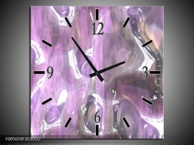 Wandklok op Glas Art | Kleur: Paars, Wit, Grijs | F005659CGD