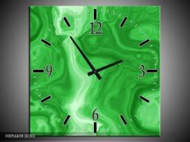 Wandklok op Canvas Art | Kleur: Groen | F005669C