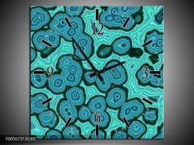Wandklok op Canvas Art | Kleur: Blauw, Groen | F005671C