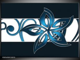 Glas schilderij Art | Blauw, Zwart, Wit