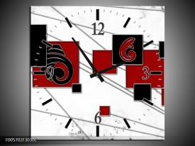 Wandklok op Canvas Vierkant | Kleur: Zwart, Rood, Wit | F005702C